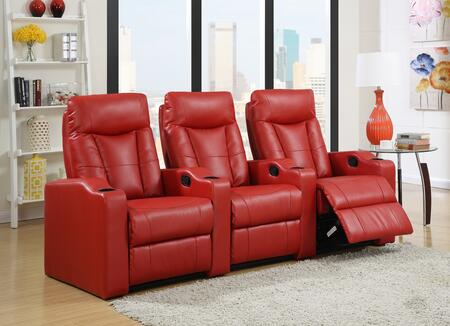 Camden Collection 3 Seat Recliner Theater Set with Sinuous Seat Spring  Grade Deluxe Foam Cushions  Wood Frame and Bonded Leather Upholstery in Red