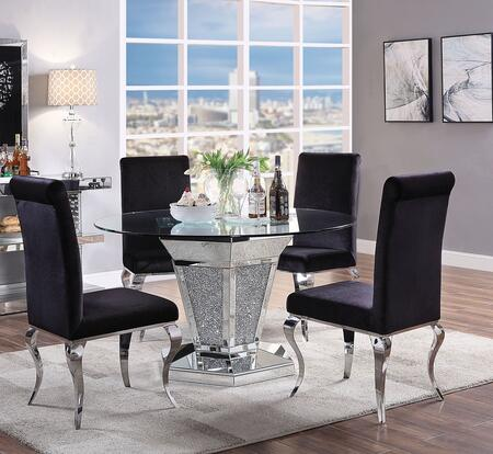 Noralie Collection 712855SET 5 PC Dining Room Set with Round Shaped Dining Table and 4 Black Fabric Upholstered Side Chairs in Mirrored