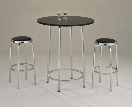 Travis 71460T2C 3 PC Bar Table Set with Bar Table + 2 Chairs in Black and Chrome