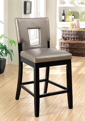 Evant II Collection CM3320PC-2PK Set of 2 Counter Height Chair with Keyhole Back and Padded Leatherette Upholstery in Pewter and
