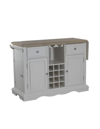 Alton Collection 14d8073w 51 Kitchen Island With 12 Wine Bottle Rack  Glass Holders  Two Drawers And Towel Rack In