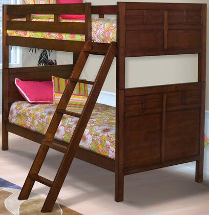 05-060-TBB Kensington Twin Over Twin Bunk Bed with Detailed Molding  Ladders  and Contemporary Design  in Burnished