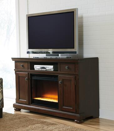 Porter Collection W697-120F02 2-Piece Set with TV Stand and W100-02 Fireplace Insert in Rustic
