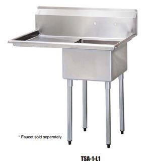 TSA-1-L1 Drain Board 39 inch W One Compartment Sink with Swirl Away Bowl Drainage and Adjustable ABS Bullet Feet in Stainless