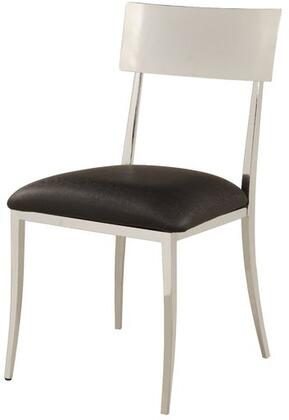 Lindsay Collection LINDSAY-SC-BLK Side Chair with Black PU Leather Upholstered Seat  Open Back  Tapered Legs and Metal Construction in Chrome