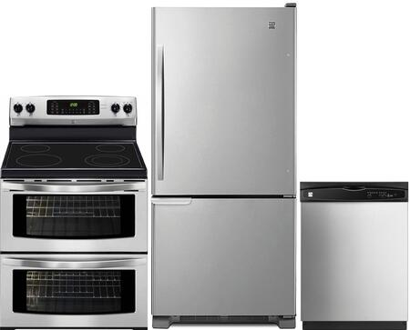 4-Piece Stainless Steel Kitchen Package with 69313 Bottom Freezer Refrigerator  97613 Freestanding Double Oven Electric Range  80323 Over-the-Range