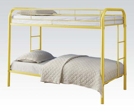 Thomas Collection 02188AYL Twin Over Twin Bunk Bed with Built-In Side Ladders  Safety Rails and Solid Metal Construction in Yellow