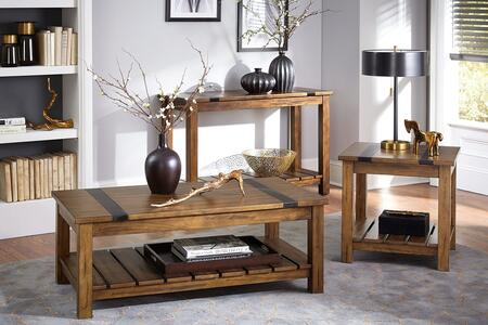 Nelson Collection 206-81-82-86 3-Piece Living Room Table Set with Coffee Table  End Table and Console Table in Distressed