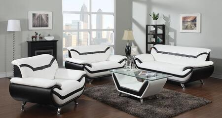 Rozene 51155SLC 3 PC Living Room Set with Sofa + Loveseat + Chair in White and