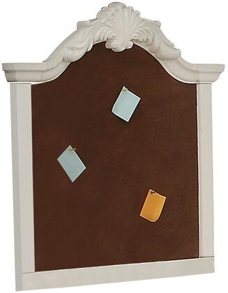Estrella 39154 35 inch  x 41 inch  Corkboard Wall Frame with Arched Crown Scrolled Shell Details and Pine Wood Construction in White