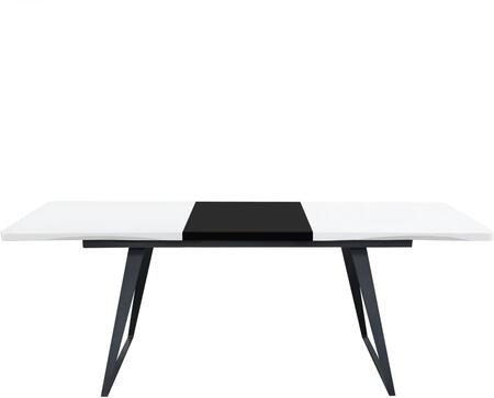 TEMPODTWHBL Temp Collection Extension Dining Table with White Lacquer Finish with Black Lacquer Leaf and Black Powder Coated Legs  in