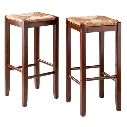 Kaden Collection 94280 Set of Two 29 inch  Barstools with Rush Seats and Up to 220 lbs. Weight Capacity in