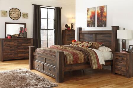 Quinden King Bedroom Set With Poster Storage Bed  Dresser  Mirror  Nightstand And Chest In Dark Brown