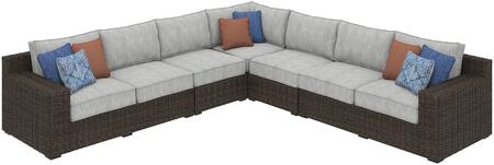 Alta Grande Collection P782-854-846(2)-877 5-Piece Patio Sectional with Left/Right Arm Facing Loveseat  2x Armless Chairs and Corner Chair in Brown and