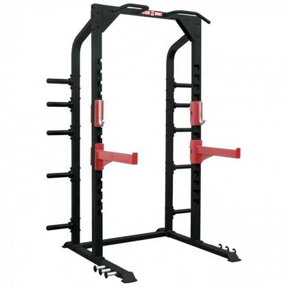 XM-3343 Commercial Half Power Rack with Built-in Plate Storage Rack  Chin Up Bars and Rubber Feet in