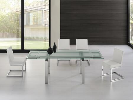 Frosty Collection CB02DTFSET 5 PC Dining Room Set with Extendable Frosted Glass Top Dining Table and 4 White Eco-Leather Upholstered Dining