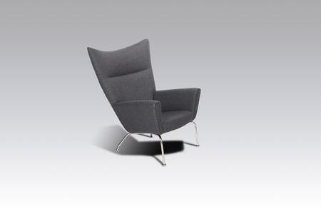 Hoffman FB9788GREY Lounge Chair with Stainless Steel Legs  Track Arms and Fabric Upholstery in