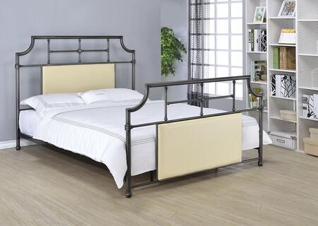 Xava Collection 25145Q Queen Size Panel Bed with PU Padded Insert Headboard  French Style Rosettes  Support Slats  Side Rails and Metal Tube Construction in