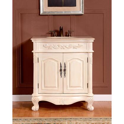 ZY0250CMUWC32 32 inch  Single Sink Cabinet with 2 Doors  1 Drawer  Cream Marfil Marble Top and Undermount White Ceramic Sink
