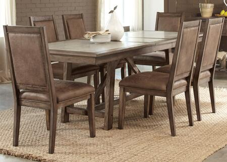 Stone Brook Collection 466-DR-7TRS 7-Piece Dining Room Set with Trestle Dining Table  2 Arm Chairs and 4 Side Chairs in Rustic Saddle