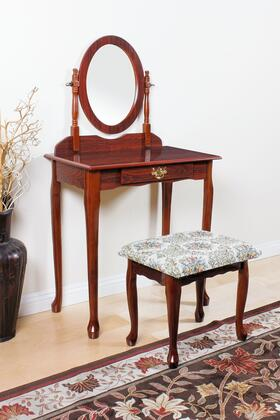 Queen Anne Collection 02337CHERRY 3 PC Pack Vanity Set with 1 Drawer Vanity Table  Swivel Mirror  Fabric Cushion Seat Stool and Wood Veneer Construction in