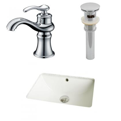 AI-12989 18.25-in. Width x 13.5-in. Diameter CUPC Rectangle Undermount Sink Set In Biscuit With Single Hole CUPC Faucet And