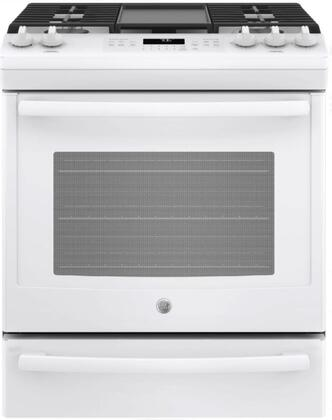 GE JGS760DELWW 30 Inch Slide-in Gas Range with Sealed Burner Cooktop, 5.6 cu. ft. Primary Oven Capacity, in White