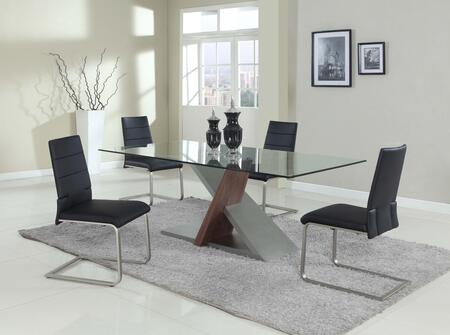 SAVANNAH-5PC-BLK SAVANNAH DINING 5 Piece Set - Chamfer Edge Tempered Clear Glass Table with 4 Black Motion Side