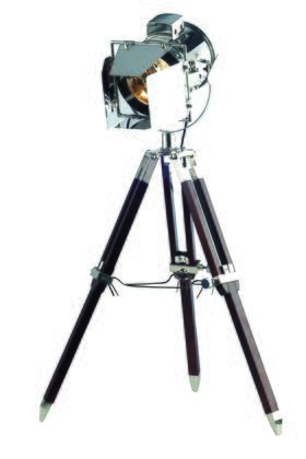 FL1201 Ansel Tripod Floor Lamp D: 6.5 H: 31.5 Lt: 1 Chrome & Brown