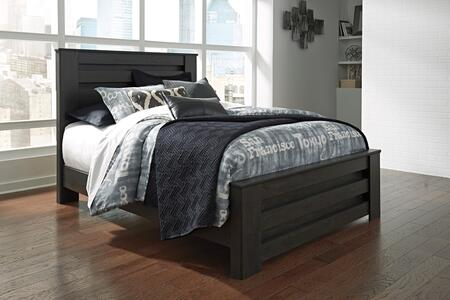 Brinxton Collection B249-67-64-98 Queen Size Panel Bed with Clean Line Design  Horizontal Pocket Details  Block Feet and Replicated Oak Grain in