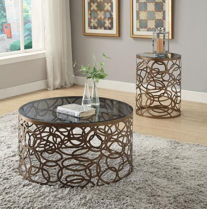 Anya 80935CE 2 PC Living Room Table Set with Coffee Table + End Table in Antique Brass