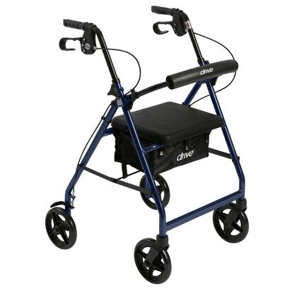 r728bl Aluminum Rollator With Fold Up And Removable Back Support And Padded Seat
