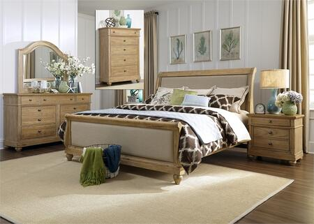 Harbor View Collection 531-BR-QSLDMCN 5-Piece Bedroom Set with Queen Sleigh Bed  Dresser  Mirror  Chest and Night Stand in