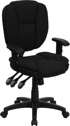 GO-930F-BK-ARMS-GG Mid-Back Black Fabric Multi-Functional Ergonomic Task Chair with