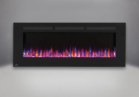 """NEFL60FH Allure 60"""" Linear Wall Mount Electric Fireplace with Glass Front  Front Vents  Clear Glass Embers and Heater with Up to 5 000 BTUs in"""