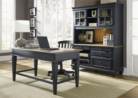 Bungalow II Collection 641-HOJ-3DH 3-Piece Home Office Set with Jr Executive Desk  Jr Executive Credenza and Credenza Hutch in Driftwood & Black
