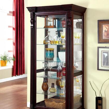 Tulare CM-CR134 Curio with Traditional Style  Rope Twist Detailing  Sliding Door  Solid Wood  Wood Veneers and Others in Dark
