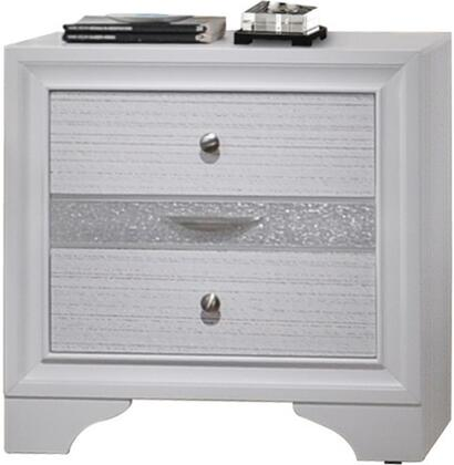 Naima Collection 25773 26 inch  Nightstand with 3 Drawers  Silver Metal Hardware  Light Grey Acrylic Trim  Rubberwood and Chipboard Materials in White