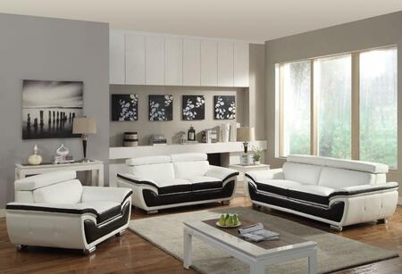 Olina 50145SLC 3 PC Living Room Set with Sofa + Loveseat + Chair in White