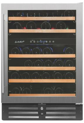RW145DRE 24 inch  Dual Zone Wine Cooler with 46 Bottle Capacity  Low Profile Wood Accented Wine Shelf  Double Paned UV Shielded Glass Door with Stainless Steel