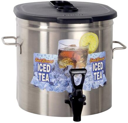 371000000 Cylinder Style Low Profile Iced Tea and Coffee Dispenser with 3.5 Gallons Capacity  Side Handles  Brew-Through Lid  Full-Color Iced Tea Decal and