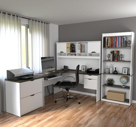 92852-52 Innova L-shaped desk with accessories in White and