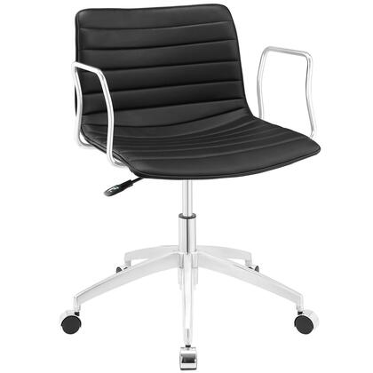 Celerity Collection EEI-1528-BLK Office Chair with 360-Degree Swivel Seat  Five Dual-Wheel Steel Casters  Mid-Century Modern Style  Polished Chrome Aluminum