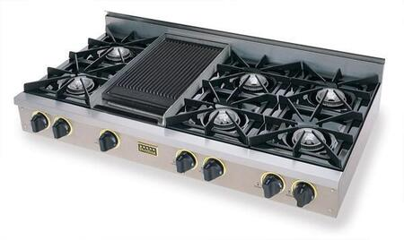 TPN-048-7S 48 inch  Open Burner Pro-Style LP Gas Rangetop With 6 Open Burners  Vari-Flame Simmer on Front Burners  Double Sided Grill/Griddle  In Stainless Steel