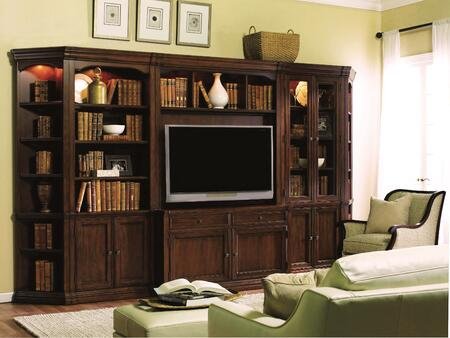 Cherry Creek 258-70-6PCENT 6-Piece Entertainment Center with TV Console  Hutch  Wall Curio  Wall Cabinet and 2x End Units in Distressed Medium