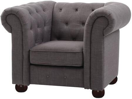 G499-C 48 inch  Armchair with Dacron Wrapped Cushions  Removable Rolled Arms  Bun Feet  Fabric Upholstery  Tufted Back And Front Rail in Grey