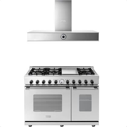 2-Piece Stainless Steel Kitchen Package with RN482SCSS 48 inch  Freestanding Dual Fuel Range and HN481AWS 48 inch  Wall Mount Stainless Steel and White Glass Hood