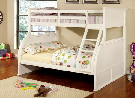 Canova Collection CM-BK923-BED Twin Over Full Size Bunk Bed with Curved Wood Design  Angled Fixed Ladder  Solid Wood and Wood Veneer Construction in White