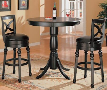 100278 Dining room Set Including Bar Dining Table and Two Bar Stools with Pedestal Base  Turned Legs and Faux Leather Upholstery in