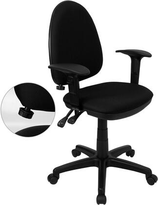 WL-A654MG-BK-A-GG Mid-Back Black Fabric Multi-Functional Task Chair with Arms and Adjustable Lumbar